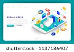 mock up design website flat... | Shutterstock .eps vector #1137186407