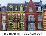 facade of colorful houses in... | Shutterstock . vector #1137206087