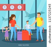 family vacation travel... | Shutterstock .eps vector #1137225245