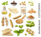 soy food products set | Shutterstock .eps vector #1137226541