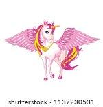 cartoon beautiful unicorn with... | Shutterstock .eps vector #1137230531