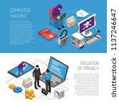 computer hacking isometric... | Shutterstock .eps vector #1137246647
