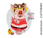pig in a santa's red costume... | Shutterstock .eps vector #1137248384