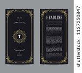 vintage flyer design with gold...   Shutterstock .eps vector #1137250847