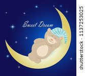 teddy bear sleeping on the moon ...   Shutterstock .eps vector #1137253025