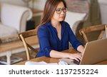 young asian female entrepreneur ... | Shutterstock . vector #1137255224