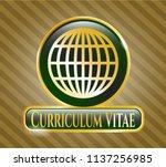 gold badge with globe  website ... | Shutterstock .eps vector #1137256985