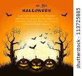 orange grungy halloween... | Shutterstock .eps vector #113725885