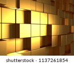 golden cubes abstract...   Shutterstock . vector #1137261854