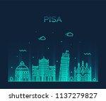 pisa skyline  italy. trendy... | Shutterstock .eps vector #1137279827
