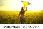 girl running around with a kite ...   Shutterstock . vector #1137279914