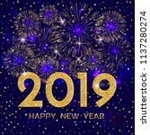 2019 happy new year. gold...   Shutterstock .eps vector #1137280274