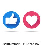 thumbs up and heart icon on a... | Shutterstock .eps vector #1137286157