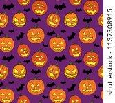 halloween seamless pattern with ... | Shutterstock .eps vector #1137308915