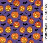 halloween seamless pattern with ... | Shutterstock .eps vector #1137314129