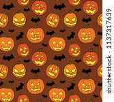 halloween seamless vector... | Shutterstock .eps vector #1137317639