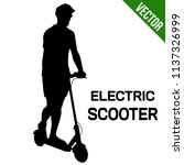 man silhouette riding electric... | Shutterstock .eps vector #1137326999