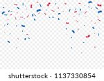 red and blue confetti isolated...   Shutterstock .eps vector #1137330854