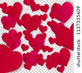 lot of red paper hearts.... | Shutterstock .eps vector #1137335609