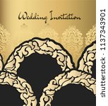 vintage card with a golden ... | Shutterstock .eps vector #1137343901
