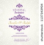 vintage wedding card with... | Shutterstock .eps vector #1137343904