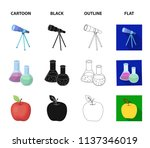 an open book with a bookmark  a ... | Shutterstock .eps vector #1137346019