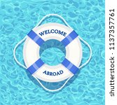 life buoy floating in swimming...   Shutterstock .eps vector #1137357761