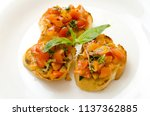 food dish bruschetta cherry... | Shutterstock . vector #1137362885