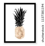 gold pineapple wall art print. | Shutterstock .eps vector #1137381194
