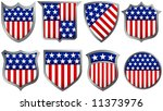 eight red white and blue shields | Shutterstock .eps vector #11373976