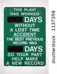 green lost time work sign | Shutterstock . vector #1137398