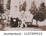 loving family sitting in the... | Shutterstock .eps vector #1137399515