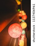 colorful cotton ball lights... | Shutterstock . vector #1137406961