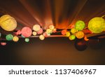 colorful cotton ball lights... | Shutterstock . vector #1137406967