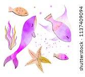 set of watercolor undersea... | Shutterstock . vector #1137409094
