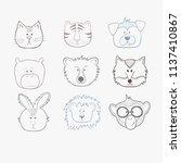 set of cute outline vector... | Shutterstock .eps vector #1137410867