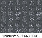 outline funny animals faces... | Shutterstock .eps vector #1137411431