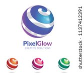 3d logo stylized spherical... | Shutterstock .eps vector #1137412391