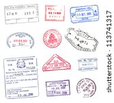 passport stamps | Shutterstock .eps vector #113741317