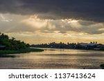 beautiful sun beams and sky... | Shutterstock . vector #1137413624