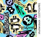 bitcoin doodle style seamless... | Shutterstock .eps vector #1137416981