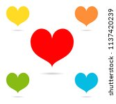 set of colored hearts with... | Shutterstock .eps vector #1137420239