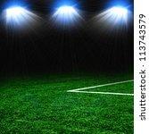 soccer ball on the green field... | Shutterstock . vector #113743579