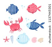 cute fish vector illustration... | Shutterstock .eps vector #1137445301