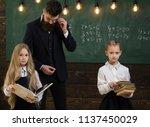 education. education process at ... | Shutterstock . vector #1137450029