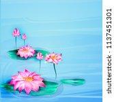 vector realistic lotus ...   Shutterstock .eps vector #1137451301