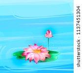 vector realistic lotus ... | Shutterstock .eps vector #1137451304