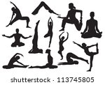 yoga silhouettes vector | Shutterstock .eps vector #113745805