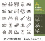 summer icons  camping and... | Shutterstock .eps vector #1137461744