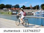 pretty smiling girl in... | Shutterstock . vector #1137463517